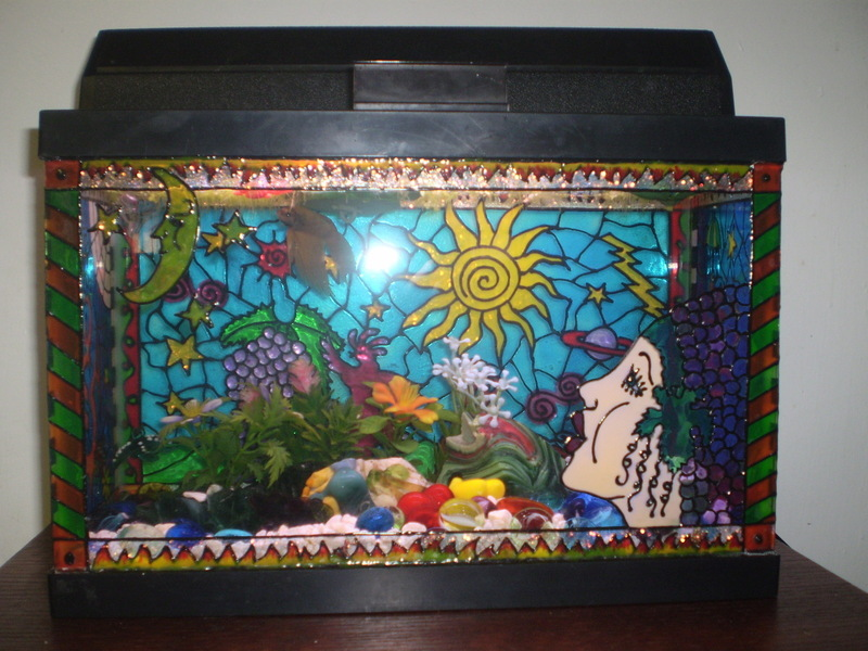 Diy painted aquarium decor for Fish tank paint