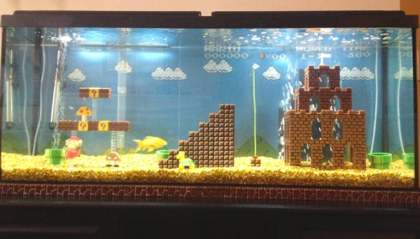 diy super mario aquarium decor