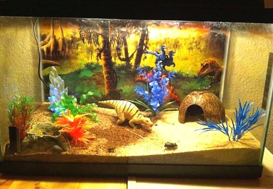 Diy dinosaur tank theme for Decoration habitat